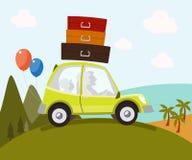 Οικογένεια στο αυτοκίνητο - απεικόνιση Στοκ Εικόνες
