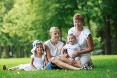 Οικογένεια στο θερινό πάρκο στοκ εικόνες με δικαίωμα ελεύθερης χρήσης