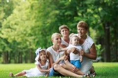 Οικογένεια στο θερινό πάρκο στοκ φωτογραφία με δικαίωμα ελεύθερης χρήσης