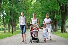 Οικογένεια στο θερινό πάρκο στοκ εικόνα με δικαίωμα ελεύθερης χρήσης
