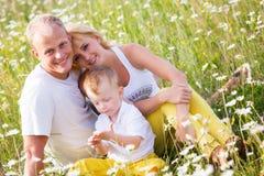 Οικογένεια στο λιβάδι Στοκ φωτογραφίες με δικαίωμα ελεύθερης χρήσης