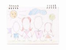 Οικογένεια στο φύλλο σημειωματάριων Στοκ φωτογραφίες με δικαίωμα ελεύθερης χρήσης