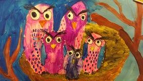 Οικογένεια σχεδίων παιδιών ` s των κουκουβαγιών ελεύθερη απεικόνιση δικαιώματος