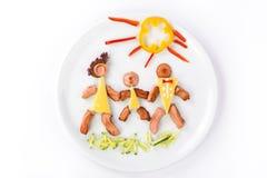 Οικογένεια τρία από τα λουκάνικα και το τυρί Στοκ φωτογραφία με δικαίωμα ελεύθερης χρήσης