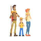 Οικογένεια τριών έτοιμων για το πεζοπορώ Στοκ εικόνα με δικαίωμα ελεύθερης χρήσης