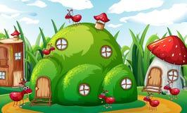 Οικογένεια των μυρμηγκιών που παίζει στους λόφους μυρμηγκιών ελεύθερη απεικόνιση δικαιώματος