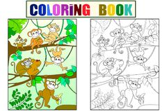 Οικογένεια των πιθήκων σε ένα βιβλίο χρώματος δέντρων για το διάνυσμα κινούμενων σχεδίων παιδιών Χρωματισμός, γραπτός απεικόνιση αποθεμάτων