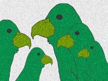 Οικογένεια των πράσινων παπαγάλων ελεύθερη απεικόνιση δικαιώματος