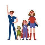 Οικογένεια των χαρακτηρών κινουμένων σχεδίων superheroes, γονείς με τα παιδιά τους στα κοστούμια των superheroes που έχουν το διά Στοκ φωτογραφία με δικαίωμα ελεύθερης χρήσης