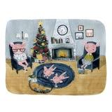 Οικογένεια των χοίρων που στηρίζεται στο σπίτι από την εστία με ένα χριστουγεννιάτικο δέντρο για τις διακοπές Χριστουγέννων απεικόνιση αποθεμάτων