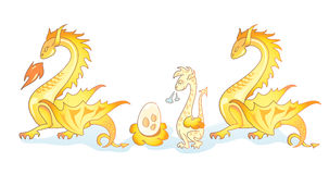 οικογένεια 3 δράκων κίτριν&e Στοκ Εικόνες
