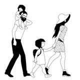 Οικογένεια Hipster strolling που απομονώνει στο άσπρο υπόβαθρο παιδιά δύο Αγόρι και κορίτσι Στοκ Εικόνες