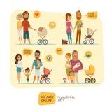 Οικογένεια infographic με τα στοιχεία και τους χαρακτήρες Στοκ Εικόνα