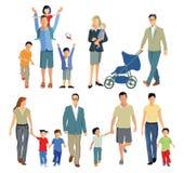 Οικογένειες με τα παιδιά διανυσματική απεικόνιση