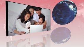 Οικογένειες σε όλο τον κόσμο που χρησιμοποιεί Διαδίκτυο με μια ευγένεια γήινης εικόνας της NASA org φιλμ μικρού μήκους