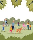 Οικογένειες στο πάρκο απεικόνιση αποθεμάτων