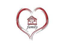 Οικογενειακά αγάπη και σπίτι ελεύθερη απεικόνιση δικαιώματος