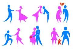 οικογενειακά εικονίδ&iota Στοκ Εικόνες