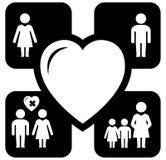 Οικογενειακά εικονίδια έννοιας Στοκ εικόνες με δικαίωμα ελεύθερης χρήσης