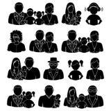 Οικογενειακά εικονίδια καθορισμένα Στοκ Εικόνες
