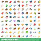 100 οικογενειακά εικονίδια καθορισμένα, isometric τρισδιάστατο ύφος απεικόνιση αποθεμάτων