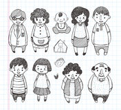 Οικογενειακά εικονίδια Doodle Στοκ φωτογραφία με δικαίωμα ελεύθερης χρήσης