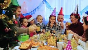Οικογενειακά μέλη που έχουν τον καλό χρόνο κατά τη διάρκεια του γεύματος Χριστουγέννων απόθεμα βίντεο