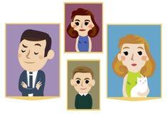 οικογενειακά πορτρέτα κινούμενων σχεδίων Στοκ φωτογραφία με δικαίωμα ελεύθερης χρήσης