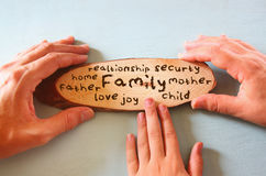 Οικογενειακά χέρια που κρατούν το σημάδι με την οικογένεια λέξης Στοκ Φωτογραφία