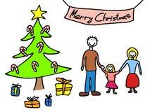 Οικογενειακά Χριστούγεννα διανυσματική απεικόνιση