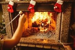 Οικογενειακά ψήνοντας marshmallows από την πυρκαγιά Άνετο σπίτι σαλέ στοκ φωτογραφία με δικαίωμα ελεύθερης χρήσης