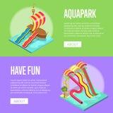 Οικογενειακές διακοπές στα isometric ιπτάμενα aquapark καθορισμένα διανυσματική απεικόνιση