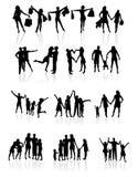 Οικογενειακές σκιαγραφίες. Διανυσματική απεικόνιση Στοκ εικόνα με δικαίωμα ελεύθερης χρήσης