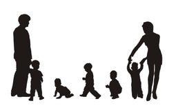 οικογενειακές σκιαγραφίες Στοκ φωτογραφία με δικαίωμα ελεύθερης χρήσης