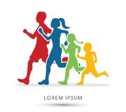 Οικογενειακές τρέχοντας σκιαγραφίες διανυσματική απεικόνιση