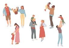 Οικογενειακές υπαίθρια ψυχαγωγικές δραστηριότητες Μητέρα, πατέρας και παιδιά που περπατούν από κοινού διανυσματική απεικόνιση