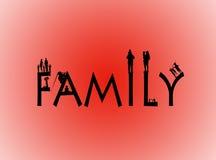 Οικογενειακή λέξη με τις οικογενειακές μορφές Στοκ εικόνα με δικαίωμα ελεύθερης χρήσης