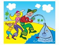 οικογενειακή αλιεία ελεύθερη απεικόνιση δικαιώματος