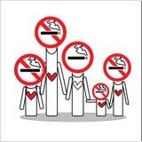Οικογενειακή απαγόρευση του καπνίσματος για την ελπίδα εσείς Στοκ Φωτογραφία