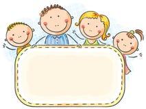 οικογενειακή οικογένεια παιδιών ευτυχής πολλά το χαρτοφυλάκιό μου δύο Στοκ Εικόνα