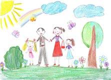 οικογενειακή οικογένεια παιδιών ευτυχής πολλά το χαρτοφυλάκιό μου δύο Στοκ Εικόνες