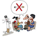 Οικογενειακή συνεδρίαση ενάντια στο κάπνισμα Στοκ φωτογραφία με δικαίωμα ελεύθερης χρήσης