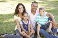 Οικογενειακή χαλάρωση στο θερινό πάρκο στοκ εικόνες
