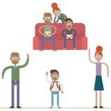Οικογενειακοί χαρακτήρες κινούμενων σχεδίων Στοκ φωτογραφίες με δικαίωμα ελεύθερης χρήσης