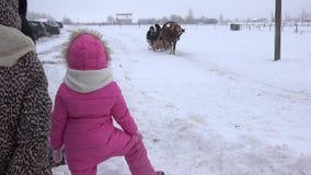 Οικογενειακός γύρος ανθρώπων με το άλογο στο έλκηθρο στον κρύο χειμώνα 4K απόθεμα βίντεο