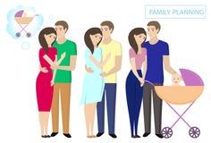 Οικογενειακός προγραμματισμός Έλεγχος τοκετού Το όνειρο της πατρότητας Ανάγκη ζεύγους newlyweds ένα παιδί ελεύθερη απεικόνιση δικαιώματος