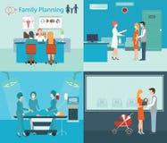Οικογενειακός προγραμματισμός στο νοσοκομείο διανυσματική απεικόνιση