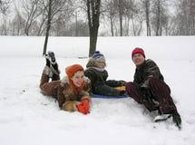 οικογενειακός χειμώνας στοκ εικόνες