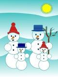 οικογενειακός χιονάνθρωπος Στοκ Εικόνες