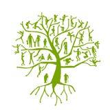 Οικογενειακό δέντρο, συγγενείς, σκιαγραφίες ανθρώπων Στοκ Φωτογραφία